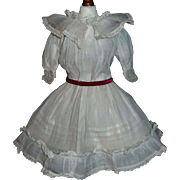 Pretty Antique White Organdy Doll Dress w Petticoat