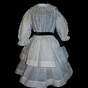 Lovely Antique White Organdy Doll Dress, Kestner, Handwerck