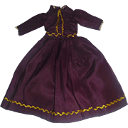 Pretty Antique Dark Plum Silk Doll Dress, Gold Feather Stitching