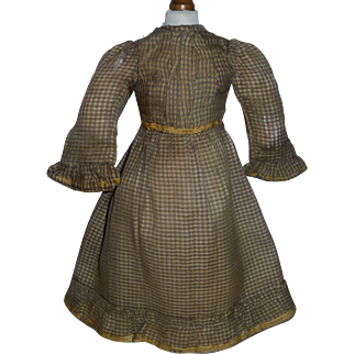 Lovely antique Wool Challis Doll Dress, Damage