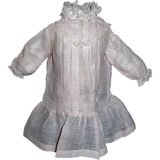 Nice Pink Organdy Drop Waist Doll Dress, Lace and Tucks