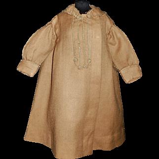 Nice Antique Camel Brown Wool Coat, Soutache Trim