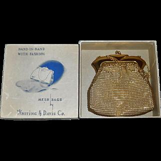 Fabulous Vintage Whiting and Davis Gold Mesh Bag, Box