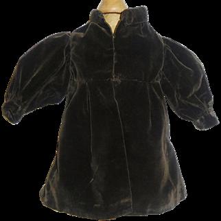 Nice Early Vintage Brown Velvet Doll Coat