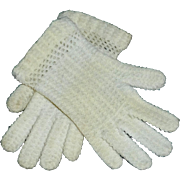 Sweet Pair of White Wool Knit Child / Large Doll Gloves