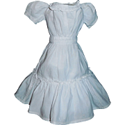 Pretty Early Made White Cotton Doll Dress