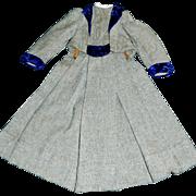 Fabulous Early Antique Grey Wool French Fashion Doll Coat, Purple Velvet Trim