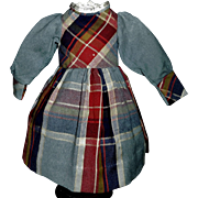 Adorable Antique Doll Wool Plaid Dress, French or German