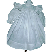 Wonderful White Cotton Antique Doll Dress, Eyelet Lace