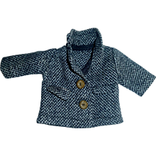 Small Black and White Tweed Doll Coat