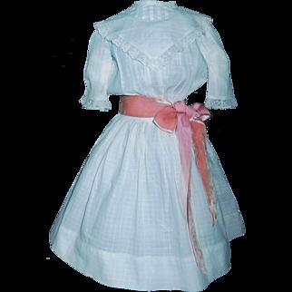 Pretty White Antique Window Pane Doll Dress, Velvet Bow