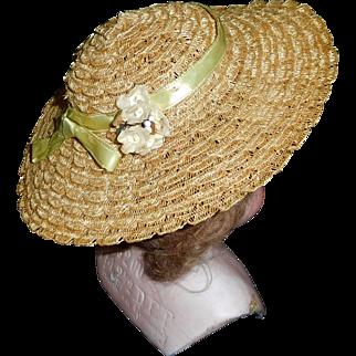 Nice Vintage Straw Doll Hat, Possibly Madame Alexander