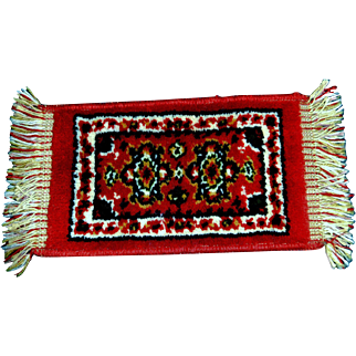 Pretty Oblong Wool Rug for a Large Doll House