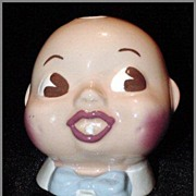 California Cleminsons Pottery  Babies Head Cotton Ball Holder