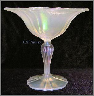 Stretch Glass Compote US Glass #310 Mother of Pearl Crystal