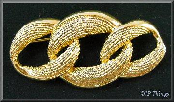 Napier Gold Tone Rope Entwined Oval Pin