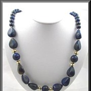 Vintage 1950s Blue and Gold Plastic Moonstone Necklace