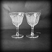 Pair EAPG Mardi Gras Small Cocktail Glasses Duncan Glass