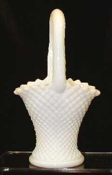 "9"" English Hobnail Milk Glass Basket Westmoreland"