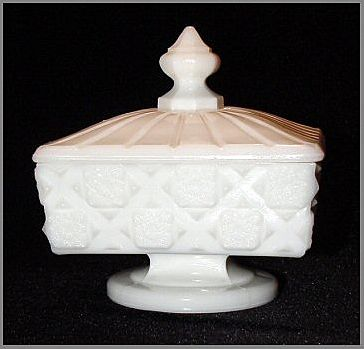 Westmoreland Old Quilt (Line #500) Low Footed Milk Glass Covered Compote