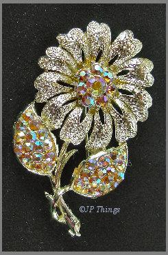 Brilliant Aurora Borealis Gold Tone Flower Brooch Pin