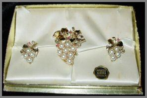 Imported Aurora Borealis Faux Pearl Grape Shape Brooch and Earrings Set