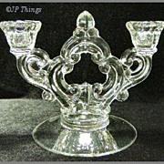 Cambridge No 647 2 Lite Ring Stem Key Hole Glass Candlestick