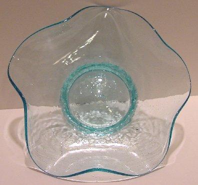 Elegant Hand blown Free Form Blue Crackle Bowl