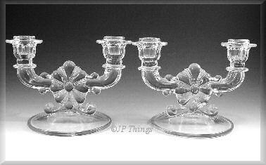 Indiana Glass Company 2 Light Candlestick Matched Set Floral Scroll