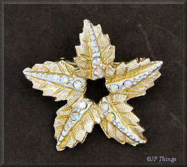 Gold Tone Star Leaf Pin with Aurora Borealis Stones