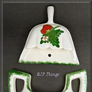 Strawberry Hand Painted Wall Pocket Set Dustpan and Jug