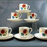 Occupied Japan Set of 6 Floral Demitasse Cups & Saucers