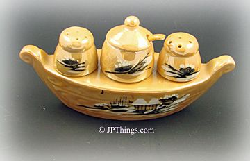 Tan Luster Hand Painted Boat Condiment Set with Spoon