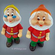 Walt Disney Doc & Happy Dwarfs of Snow White Squeaky Vinyl Dolls