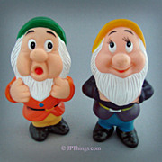 Walt Disney Grumpy & Sneezy Dwarfs of Snow White Squeaky Vinyl Dolls