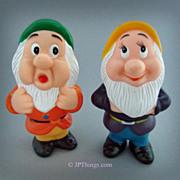 Walt Disney Grumpy & Sneezy Dwarfs of Snow White Squeaky Vinyl Dolls