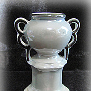 Czechoslovakian Gray Luster Urn Pottery Vase With Black Trim
