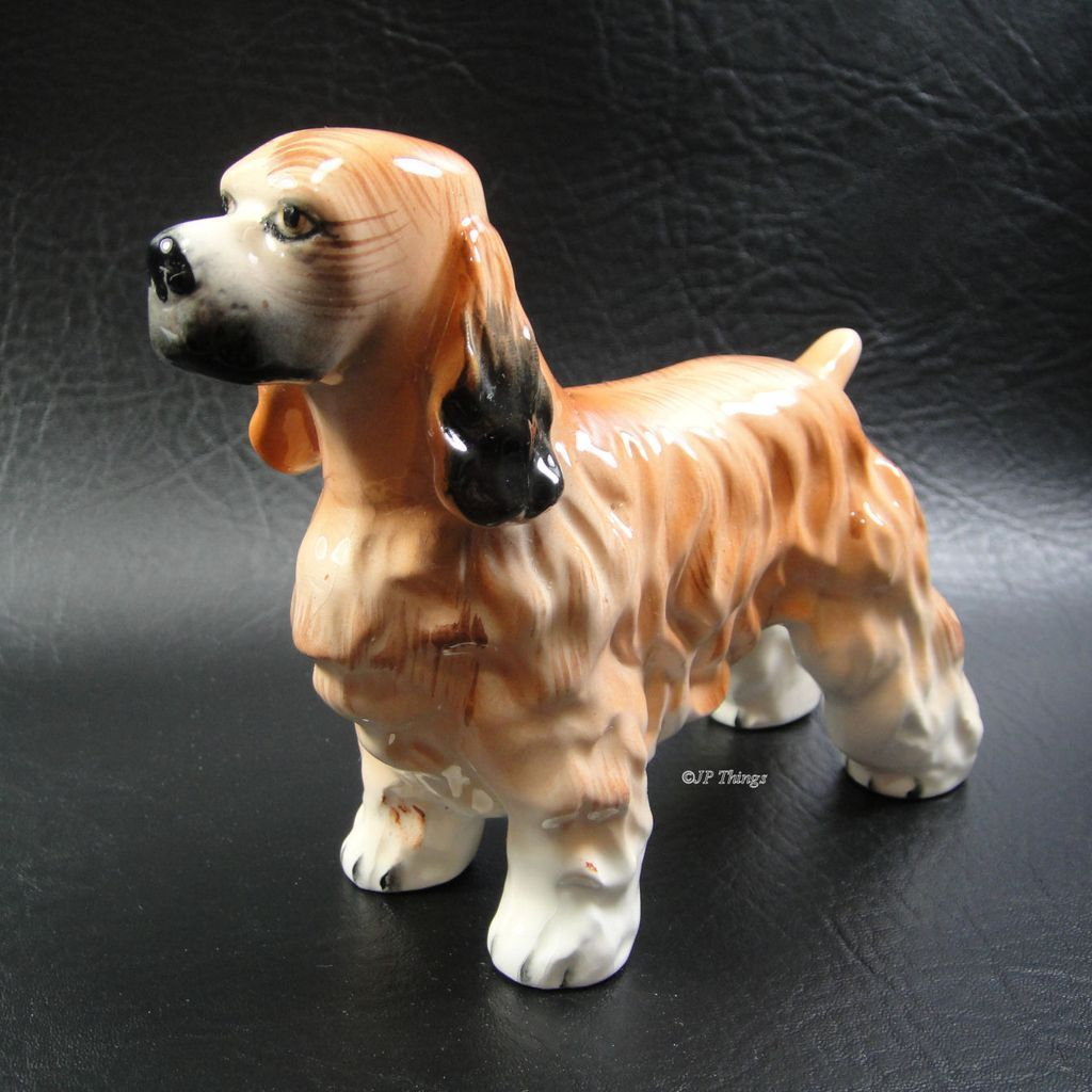 Beautiful Ceramic Hand Painted Spaniel Dog Tan And Black