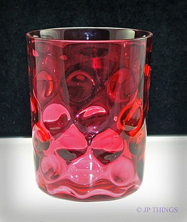 Cranberry Polka Dot aka Inverted Thumbprint Glass Tumbler