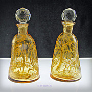 Bohemian Set Pinched Raised Gold Gilded Perfume Bottles