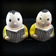 Adorable Mr & Mrs Egg Cups with Salt and Pepper Shakers Set reading Newspaper