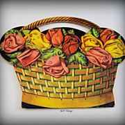 1950s Original Graphic Rose Basket Sewing Needle Packet Foreign