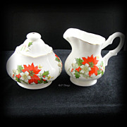 Beautiful Poinsettia and Holly Porcelain Creamer and Covered Sugar bowl