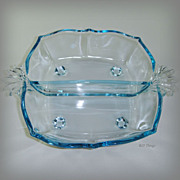 Fostoria Glass Baroque Azure Blue 2 section Footed Relish Tab Flame Handles