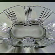 Beautiful Fostoria Glass Sunray 2 Handled Pickle Dish