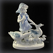 Gerold Porcelain Geese & Gosling Girl Figurine 6138/A Bavaria West Germany