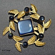 Beautiful Simulated Square Blue Moonstone with Leaves Gold tone Brooch Pin