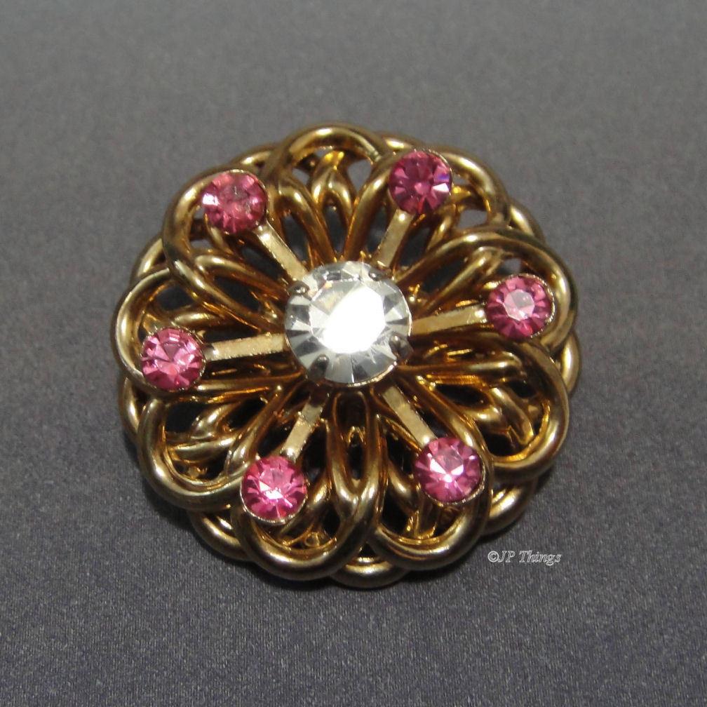 Mid Century Modern Atomic Loop Pink & Crystal Rhinestone Brooch Pin