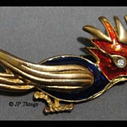 Vintage Blue and Red Enamel Bird Brooch with Rhinestone Eye and Gold Tone Body