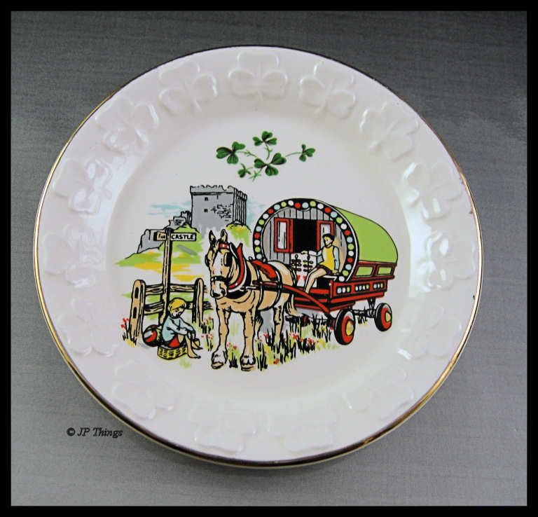 Irish Carrigaline Pottery Shamrock Edged with Horse Drawn Carriage and Castle